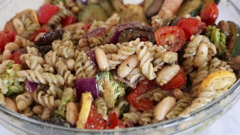 Balsamic Roasted Veggie and White Bean Pasta Recipe